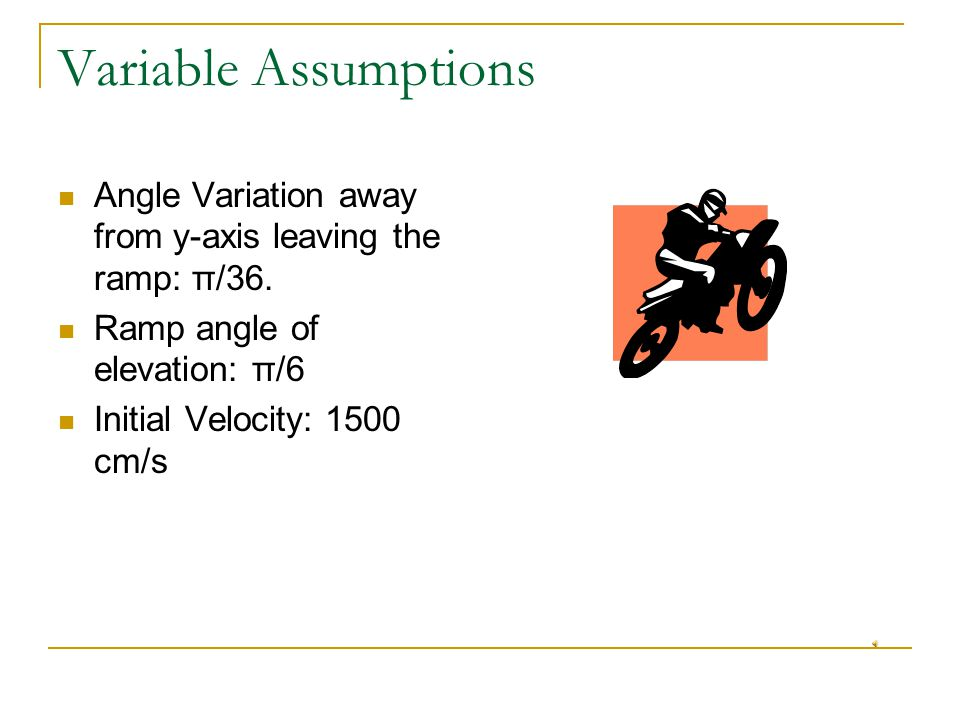 Variable Assumptions Angle Variation away from y-axis leaving the ramp: π/36.