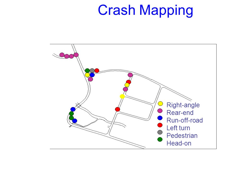 Crash Mapping Right-angle Rear-end Run-off-road Left turn Pedestrian Head-on