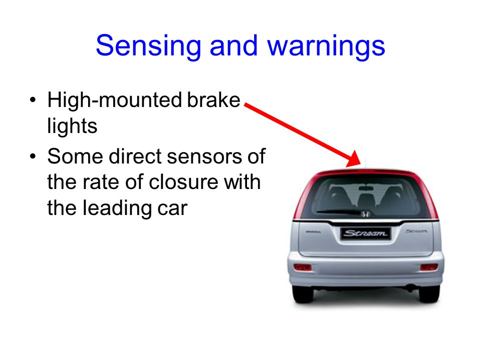 Sensing and warnings High-mounted brake lights Some direct sensors of the rate of closure with the leading car