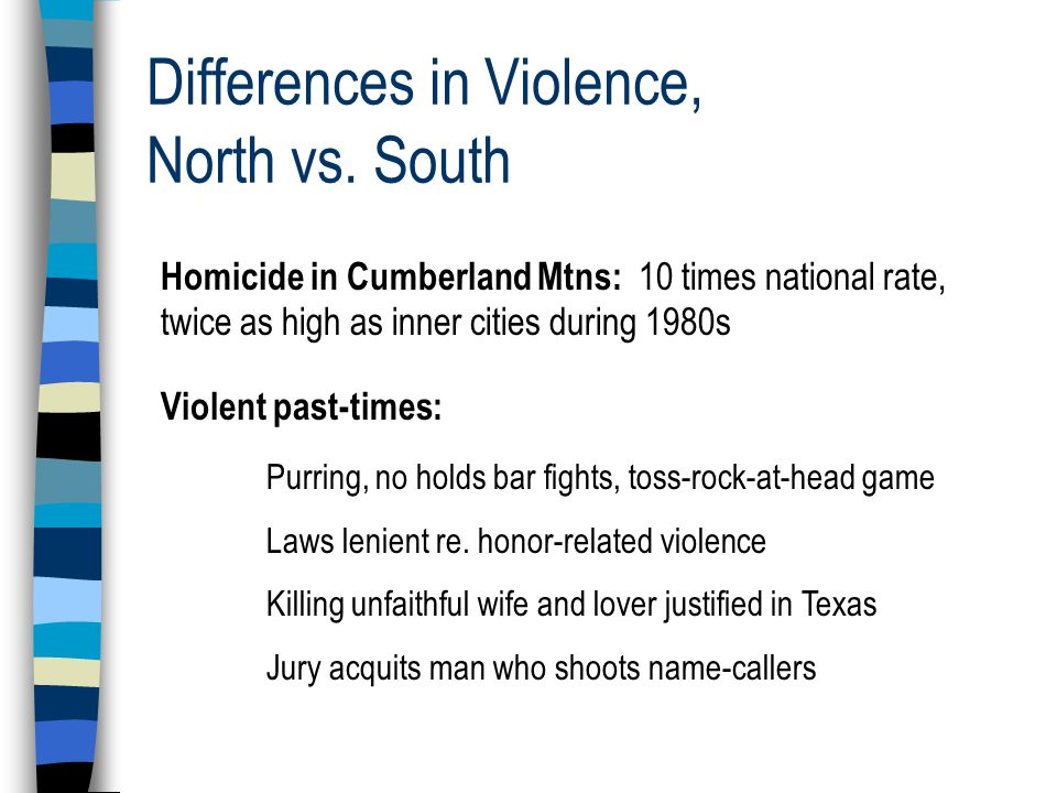 Differences in Violence, North vs.