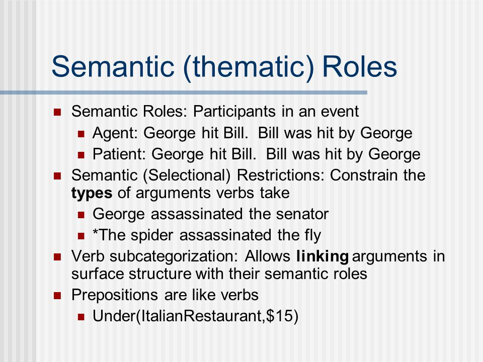 Semantic (thematic) Roles Semantic Roles: Participants in an event Agent: George hit Bill.