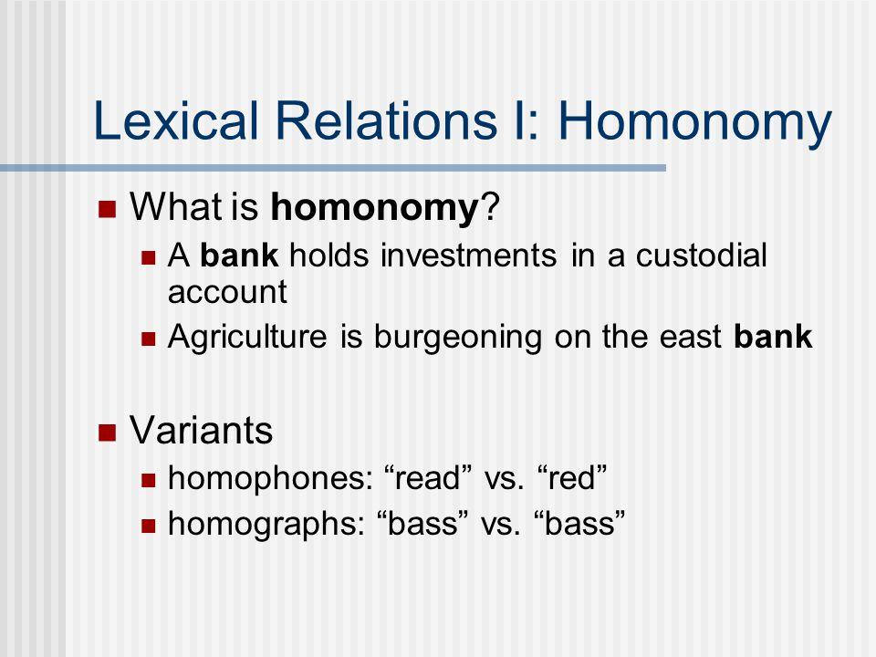 Lexical Relations I: Homonomy What is homonomy.