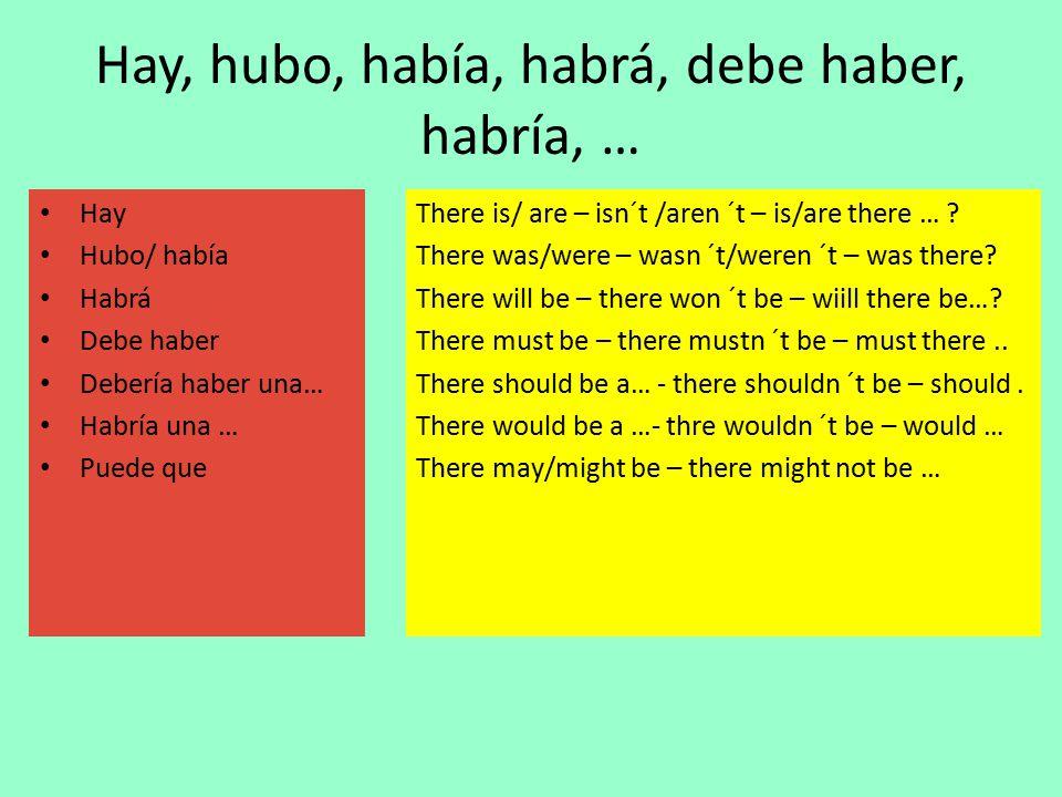 Hay, hubo, había, habrá, debe haber, habría, … Hay Hubo/ había Habrá Debe haber Debería haber una… Habría una … Puede que There is/ are – isn´t /aren ´t – is/are there … .