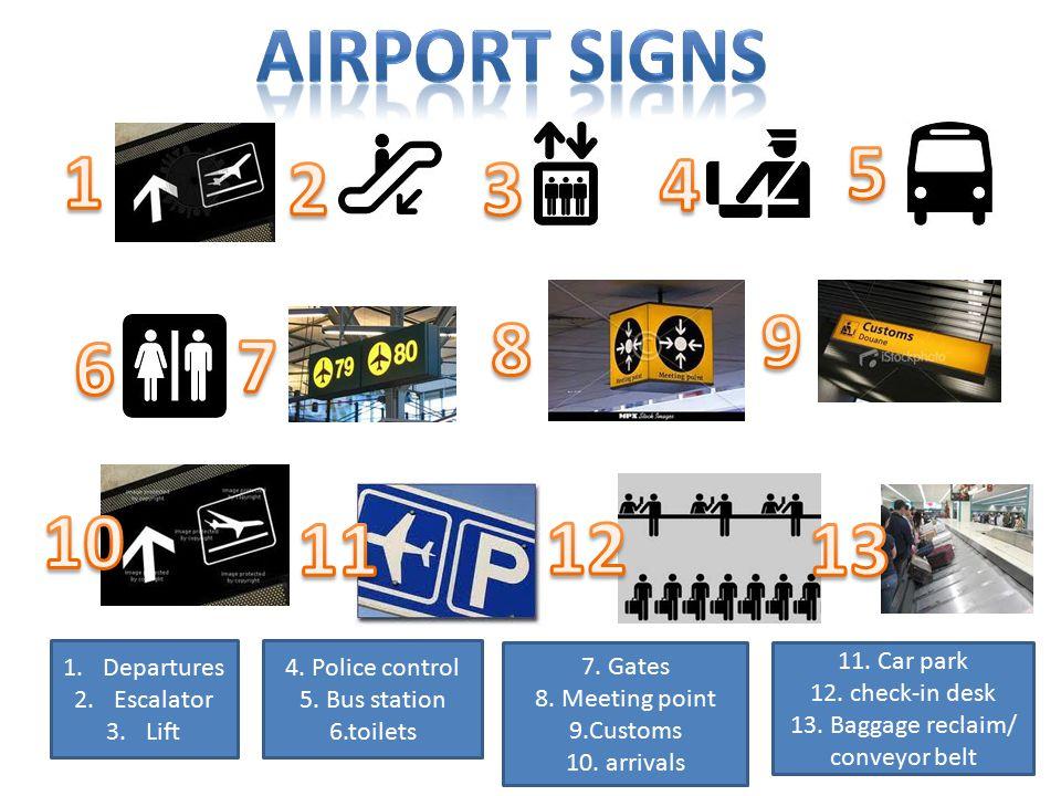 1.Departures 2.Escalator 3.Lift 4. Police control 5.