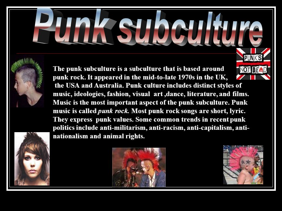 The punk subculture is a subculture that is based around punk rock.