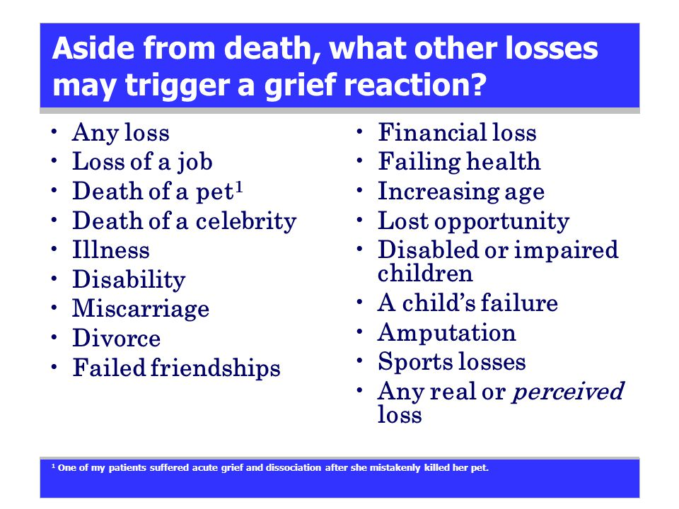 Aside from death, what other losses may trigger a grief reaction.