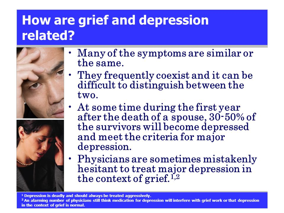 How are grief and depression related. Many of the symptoms are similar or the same.