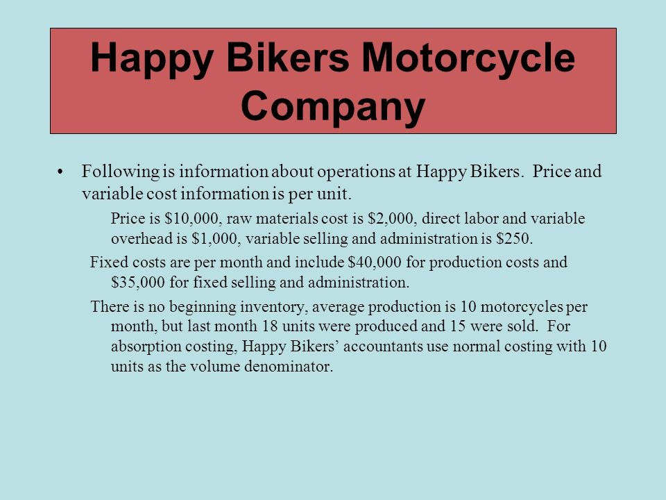 Happy Bikers Motorcycle Company Following is information about operations at Happy Bikers. Price and variable cost information is per unit. Price is $