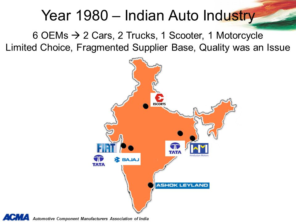 Automotive Component Manufacturers Association of India Competitiveness Increased Component Outsourcing from India (More than 30 IPOs have offices in India)
