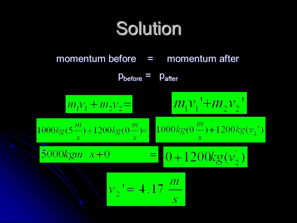 Solution momentum before = momentum after momentum before = momentum after p before = p after p before = p after