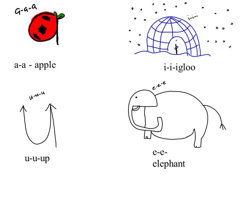 a-a - apple i-i-igloo u-u-up e-e- elephant