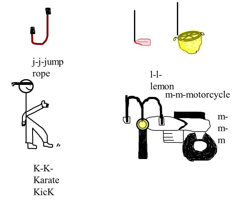 j-j-jump rope l-l- lemon K-K- Karate KicK m-m-motorcycle m- m- m