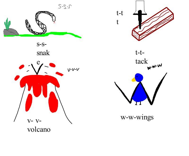 s-s- snak e t-t- tack t-t t v- v- volcano w-w-wings