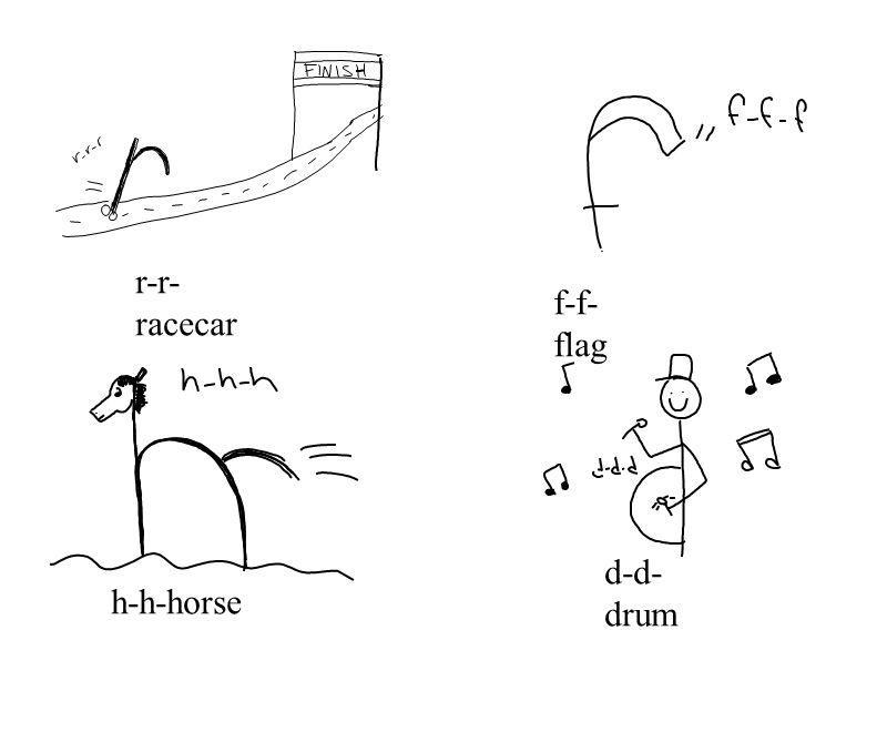 f-f- flag r-r- racecar h-h-horse d-d- drum