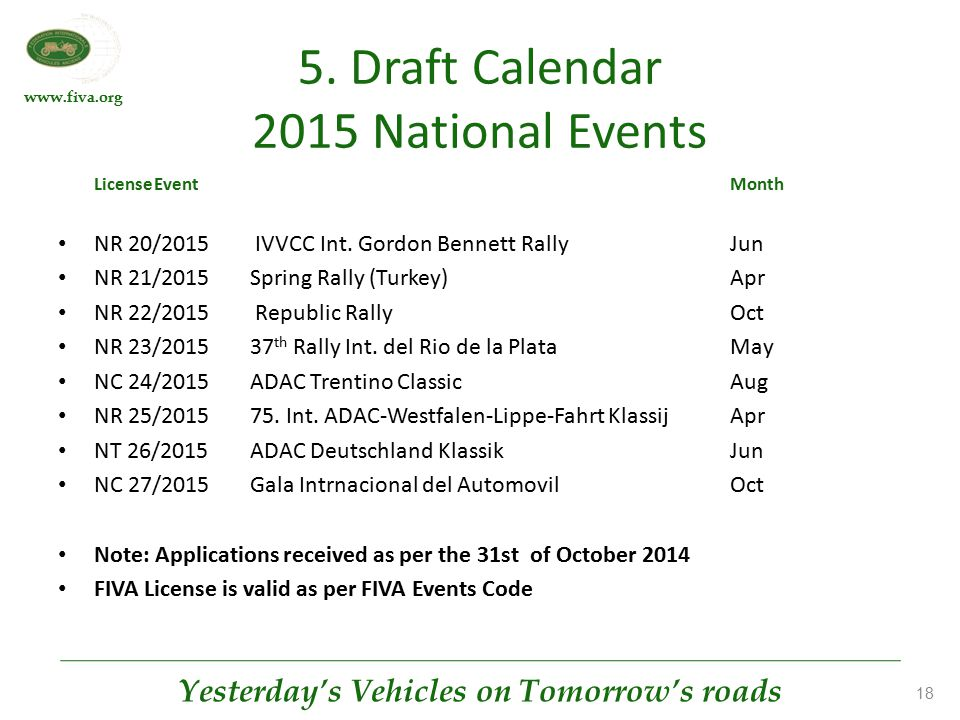 www.fiva.org Yesterday's Vehicles on Tomorrow's roads 18 5. Draft Calendar 2015 National Events LicenseEventMonth NR 20/2015 IVVCC Int. Gordon Bennett