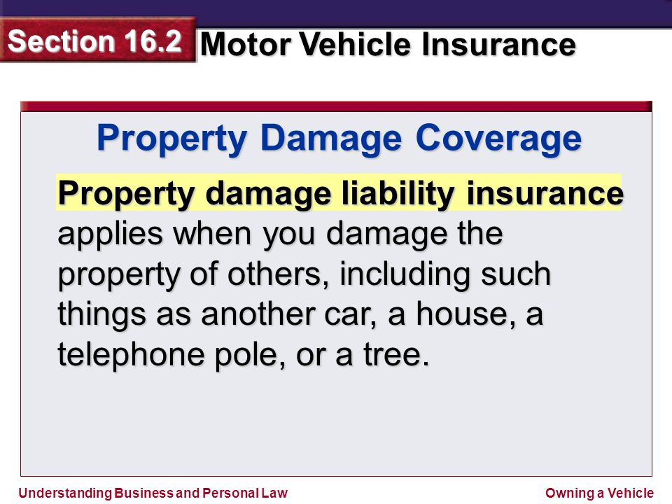 Understanding Business and Personal Law Motor Vehicle Insurance Section 16.2 Owning a Vehicle Property damage liability insurance applies when you damage the property of others, including such things as another car, a house, a telephone pole, or a tree.