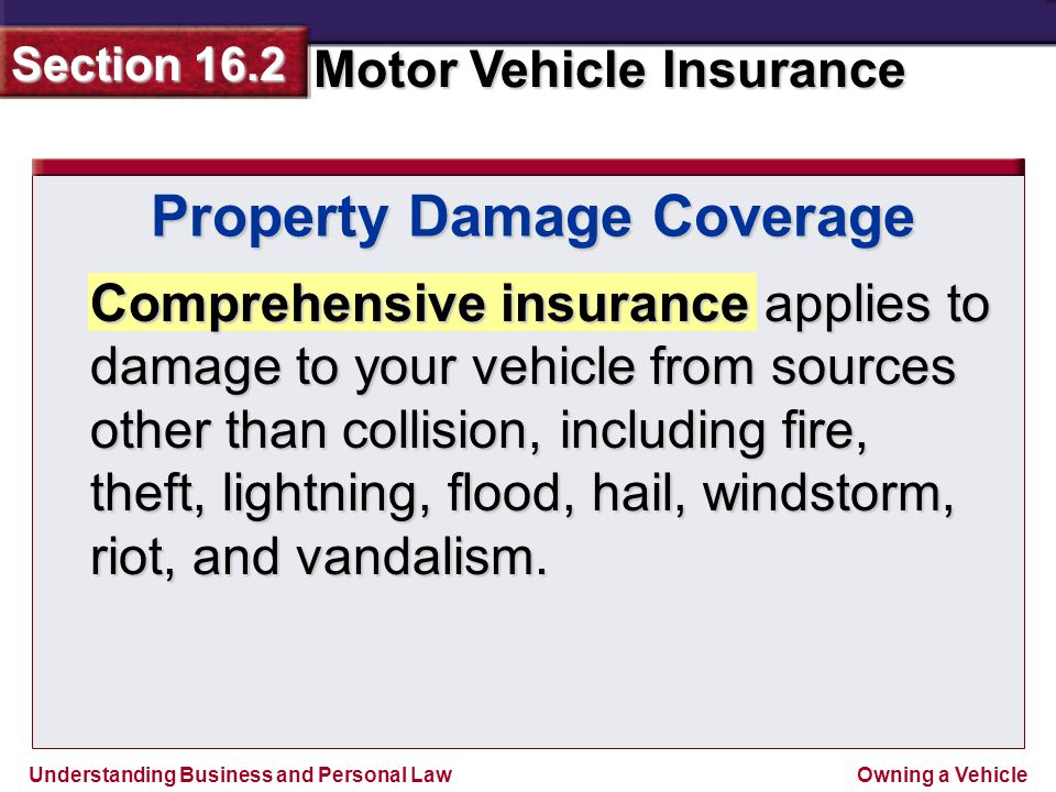 Understanding Business and Personal Law Motor Vehicle Insurance Section 16.2 Owning a Vehicle Comprehensive insurance applies to damage to your vehicle from sources other than collision, including fire, theft, lightning, flood, hail, windstorm, riot, and vandalism.