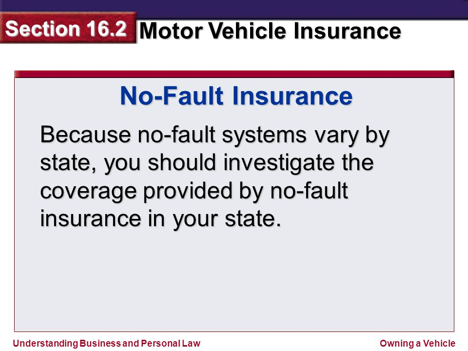 Understanding Business and Personal Law Motor Vehicle Insurance Section 16.2 Owning a Vehicle Because no-fault systems vary by state, you should investigate the coverage provided by no-fault insurance in your state.