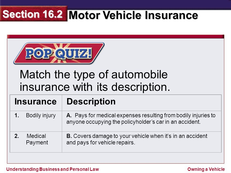 Understanding Business and Personal Law Motor Vehicle Insurance Section 16.2 Owning a Vehicle Match the type of automobile insurance with its description.