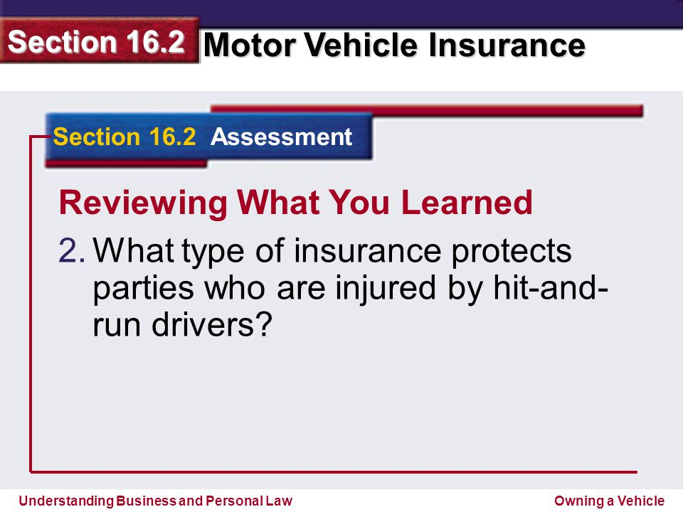 Understanding Business and Personal Law Motor Vehicle Insurance Section 16.2 Owning a Vehicle Reviewing What You Learned 2.