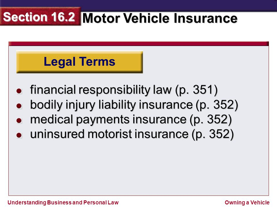 Understanding Business and Personal Law Motor Vehicle Insurance Section 16.2 Owning a Vehicle Section 16.2 Assessment Legal Skills in Action Motorcycle Helmet Laws With a partner, debate whether people should be allowed to ride motorcycles without helmets.
