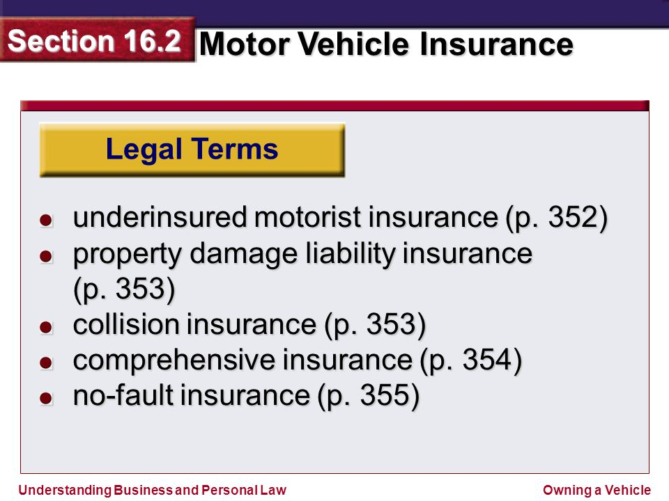 Understanding Business and Personal Law Motor Vehicle Insurance Section 16.2 Owning a Vehicle Uninsured motorist insurance provides protection when the insured is injured in an automobile accident that is caused by a driver who has no insurance.