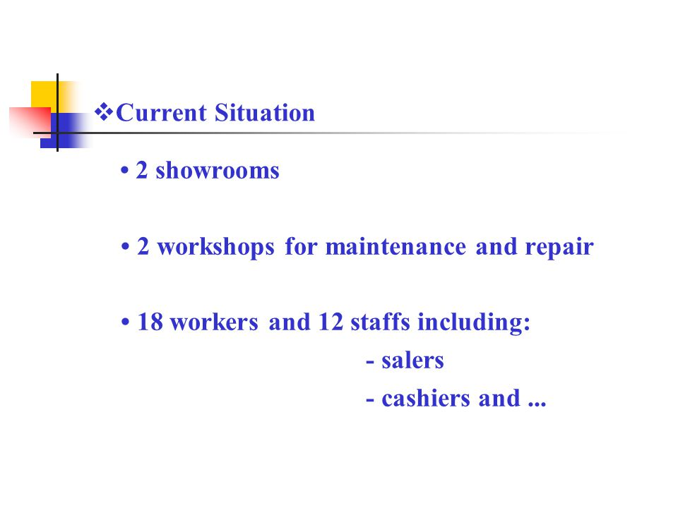 2 showrooms 2 workshops for maintenance and repair 18 workers and 12 staffs including: - salers - cashiers and...