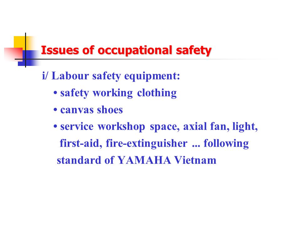 Issues of occupational safety i/ Labour safety equipment: safety working clothing canvas shoes service workshop space, axial fan, light, first-aid, fire-extinguisher...