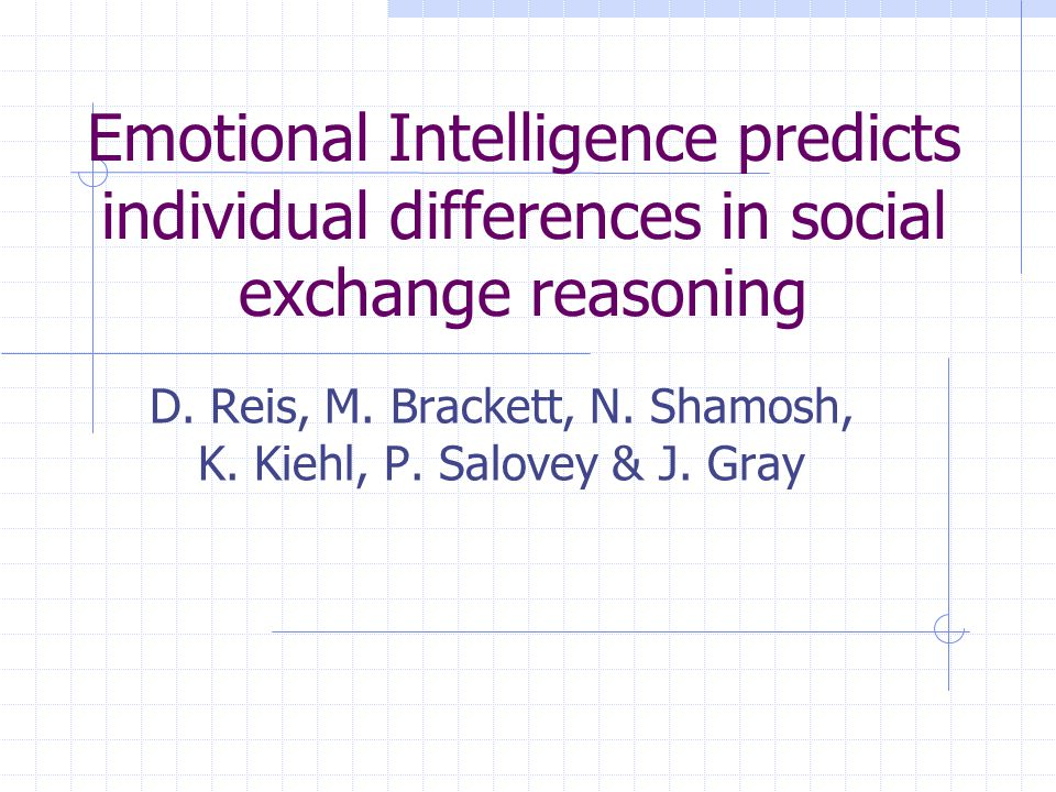 Emotional Intelligence predicts individual differences in social exchange reasoning D.