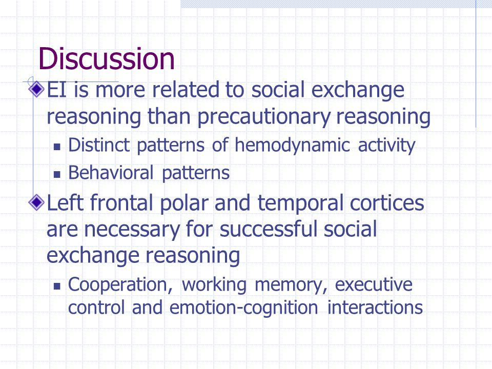 Discussion EI is more related to social exchange reasoning than precautionary reasoning Distinct patterns of hemodynamic activity Behavioral patterns Left frontal polar and temporal cortices are necessary for successful social exchange reasoning Cooperation, working memory, executive control and emotion-cognition interactions