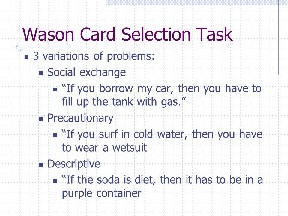 Methods Behavioral study N=48 1.Brief tutorial on the Wason task 2.