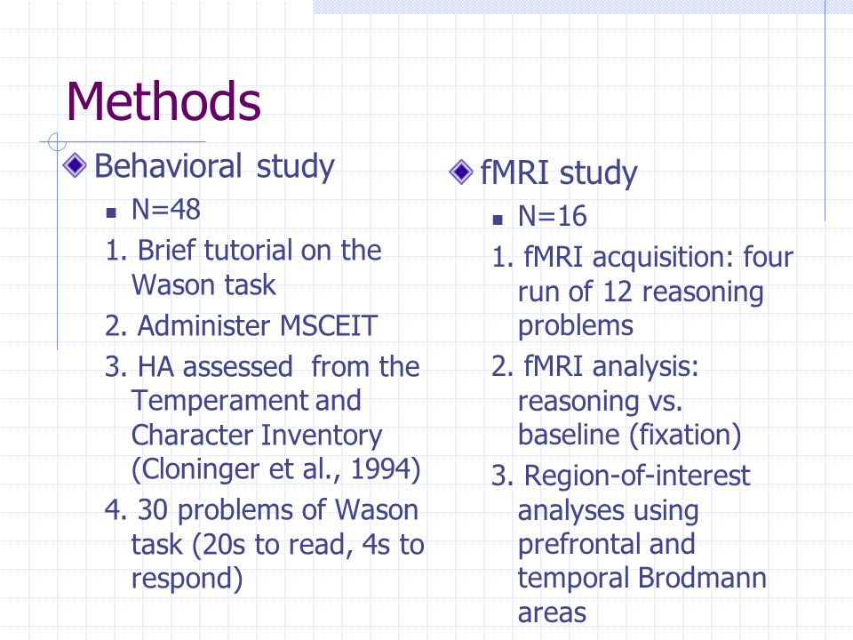 Methods Behavioral study N=48 1. Brief tutorial on the Wason task 2.