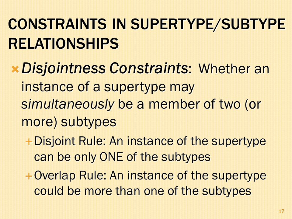  Disjointness Constraints : Whether an instance of a supertype may simultaneously be a member of two (or more) subtypes  Disjoint Rule: An instance