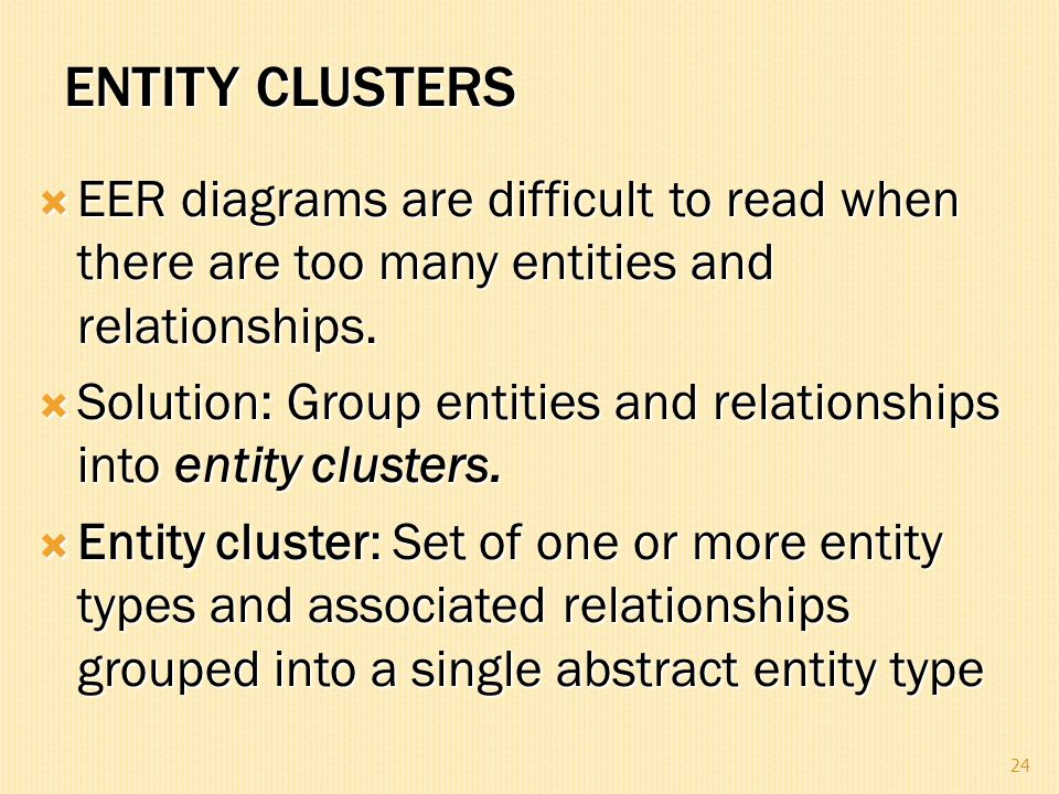 ENTITY CLUSTERS  EER diagrams are difficult to read when there are too many entities and relationships.  Solution: Group entities and relationships