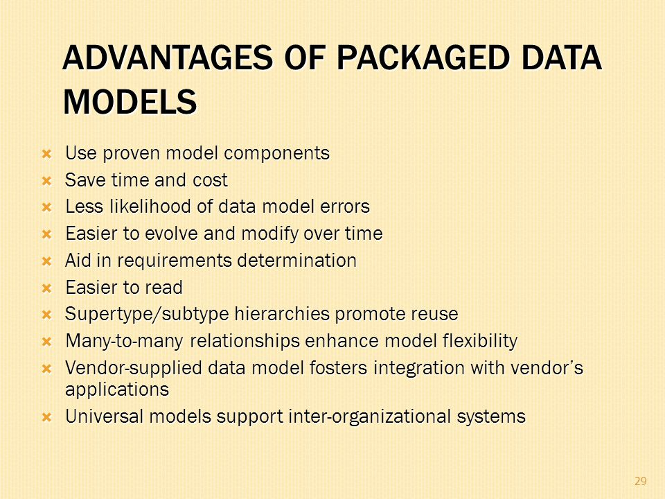 ADVANTAGES OF PACKAGED DATA MODELS  Use proven model components  Save time and cost  Less likelihood of data model errors  Easier to evolve and mo