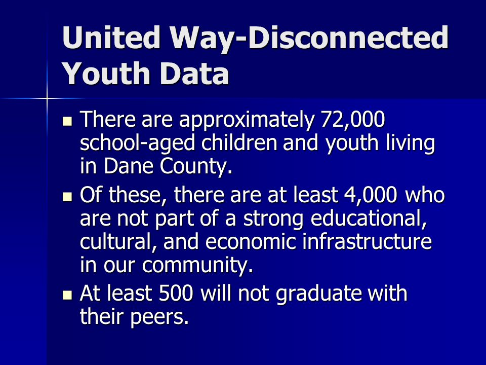 United Way-Disconnected Youth Data There are approximately 72,000 school-aged children and youth living in Dane County.