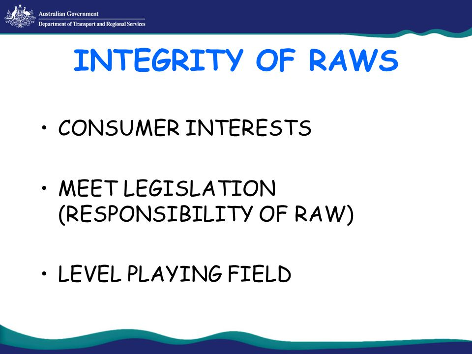 INTEGRITY OF RAWS CONSUMER INTERESTS MEET LEGISLATION (RESPONSIBILITY OF RAW) LEVEL PLAYING FIELD