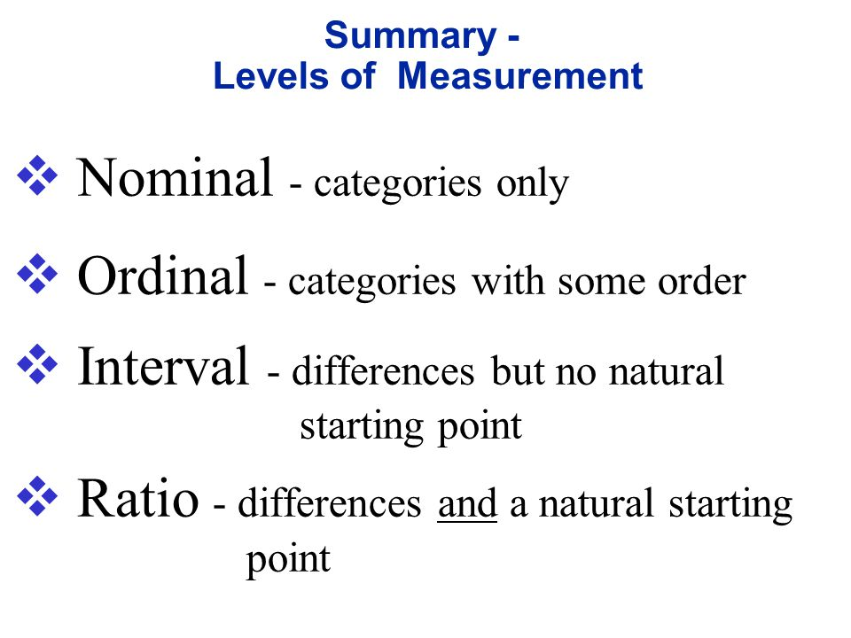  ratio level of measurement the interval level modified to include the natural zero starting point (where zero indicates that none of the quantity is