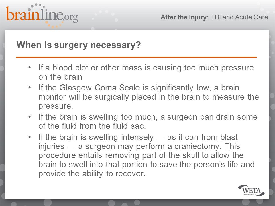 After the Injury: TBI and Acute Care When is surgery necessary.