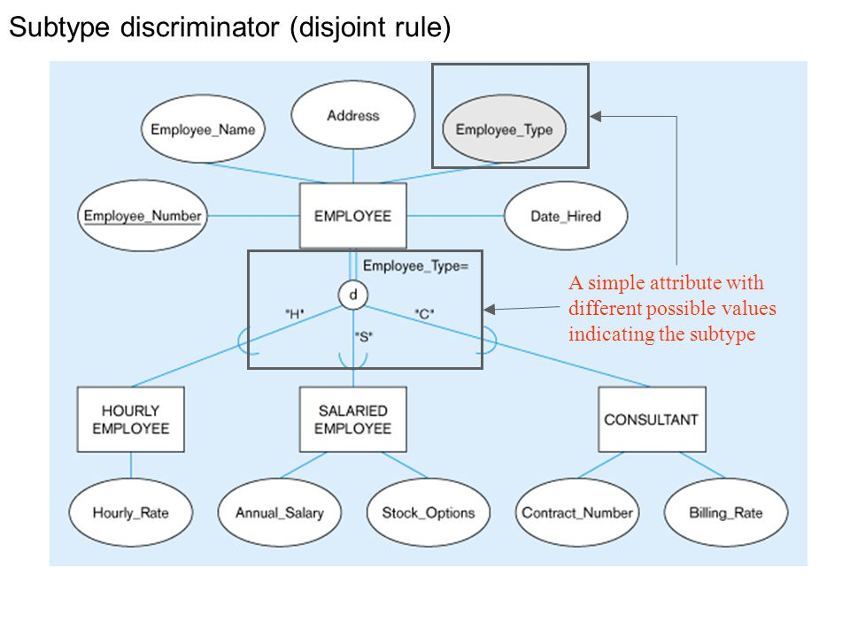 Subtype discriminator (disjoint rule) A simple attribute with different possible values indicating the subtype
