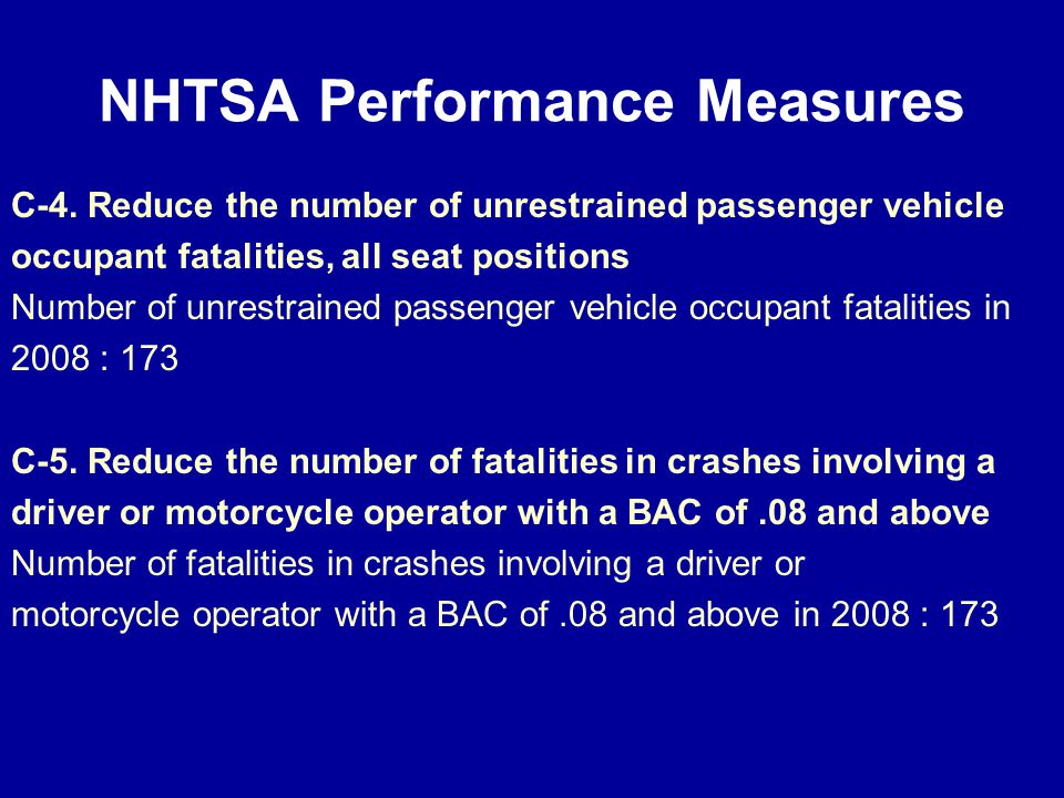 NHTSA Performance Measures C-4.