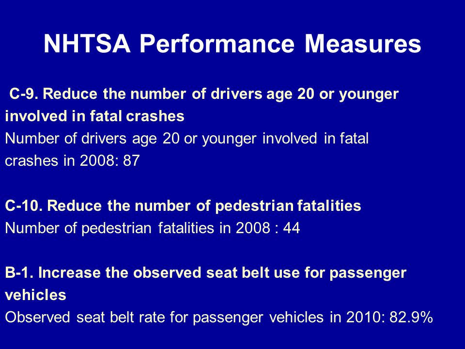 NHTSA Performance Measures C-9.