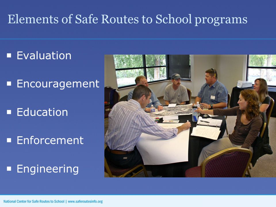 Elements of Safe Routes to School programs  Evaluation  Encouragement  Education  Enforcement  Engineering