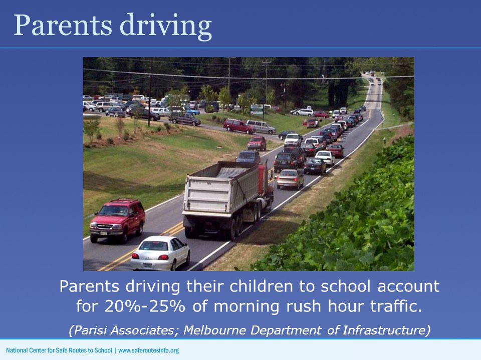 Parents driving Parents driving their children to school account for 20%-25% of morning rush hour traffic.