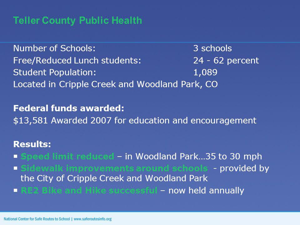 Number of Schools:3 schools Free/Reduced Lunch students: 24 - 62 percent Student Population: 1,089 Located in Cripple Creek and Woodland Park, CO Federal funds awarded: $13,581 Awarded 2007 for education and encouragement Results:  Speed limit reduced – in Woodland Park…35 to 30 mph  Sidewalk improvements around schools - provided by the City of Cripple Creek and Woodland Park  RE2 Bike and Hike successful – now held annually Teller County Public Health