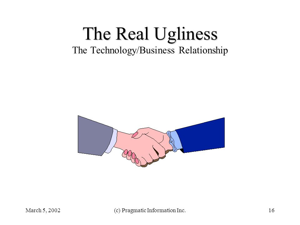 March 5, 2002(c) Pragmatic Information Inc.16 The Real Ugliness The Real Ugliness The Technology/Business Relationship