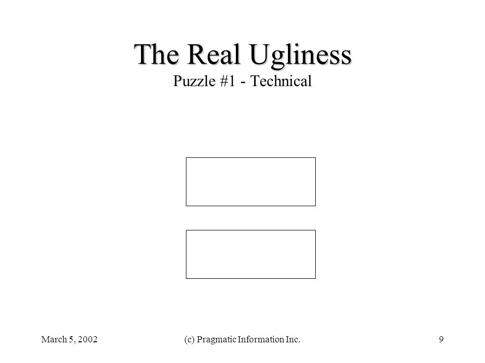 March 5, 2002(c) Pragmatic Information Inc.9 The Real Ugliness The Real Ugliness Puzzle #1 - Technical