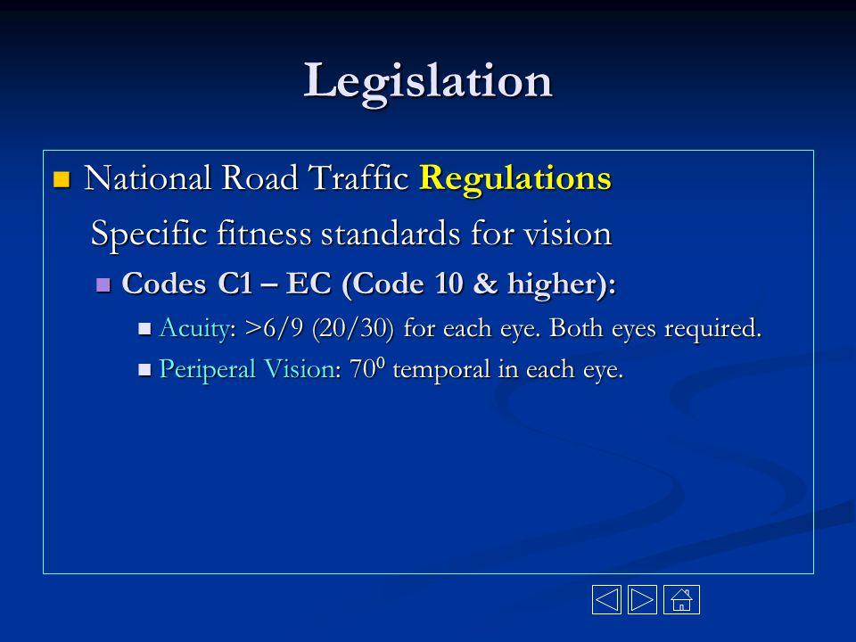 Legislation National Road Traffic Regulations National Road Traffic Regulations Specific fitness standards for vision Specific fitness standards for v