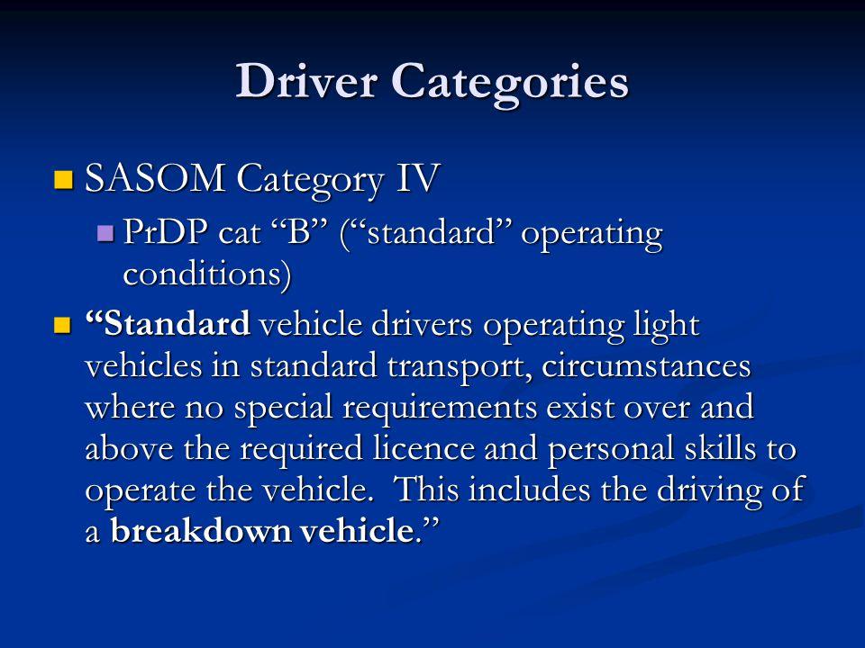 "Driver Categories SASOM Category IV SASOM Category IV PrDP cat ""B"" (""standard"" operating conditions) PrDP cat ""B"" (""standard"" operating conditions) ""S"