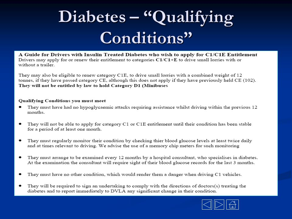 """Diabetes – """"Qualifying Conditions"""""""